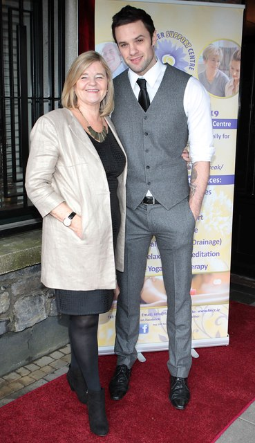 Niall Breslin and mother Mandy Breslin at Bressies Charity lunch in aid of Larcc Cancer Support in Brasserie 15 Restaurant in Castleknock Pic Brian McEvoy