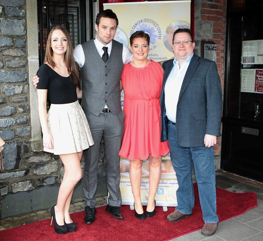 Sophie Browne ,Niall Breslin,Mary Browne and Greg Browne pictured at Bressies Charity lunch in aid of Larcc Cancer Support in Brasserie 15 Restaurant in Castleknock Pic Brian McEvoy